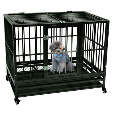 """New Iron 42"""" Dog Crate Kennel Heavy Duty Pet Cage Playpen with Tray Wheels Black"""