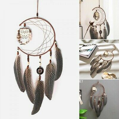 Owl Feathers Dream Catcher Wall Hanging Handmade Home Decoration Ornament Gift