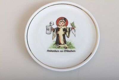 Original Vintage 1970s Small Plate Coasters Porcelain Painted Munich Beer
