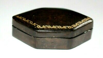 Antique Georgian / Victorian Quality Leather Box. Jewellery / Brooch / Miniature