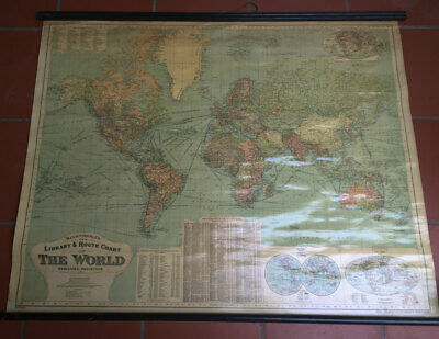 1912 GW Bacon Antique Bespoke World Map with Global Steamship & Railway Routes