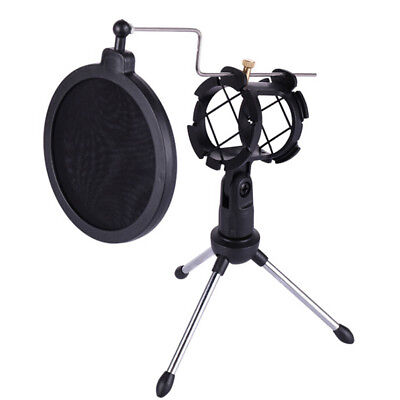 Foldable Desktop Microphone Tripod Stand With Shock Mount Mic Holder TPI