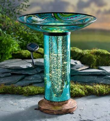 "NEW Glass Fish-Motif Birdbath - 17"" dia. bowl x 20½""H"