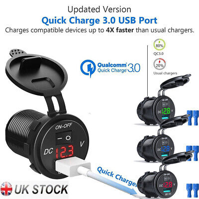 Quick Charge 3.0 DC 12V-24V USB Port Car Charger Socket Digital LED Voltmeter
