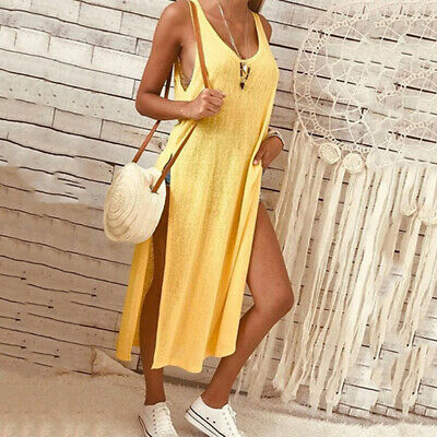 Women Sexy Low Cut Solid Color Split Sleeveless Loose Large Size Dress CB