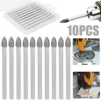 10pcs 6mm Carbide Spear Head Tip Drill Bit Set For Glass Plastic Tile Ceramic