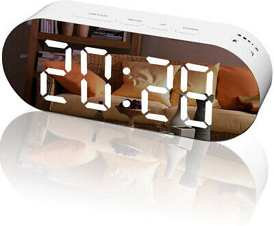 Digital Alarm Clock Mirror Surface Large LED Display Dimmer with Dual USB Ports