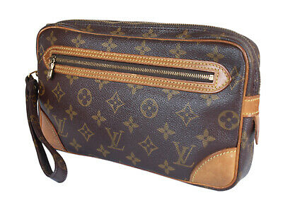f40f72a83519 Auth LOUIS VUITTON Marly Dragonne Monogram Canvas Leather Pochette Clutch  Bag