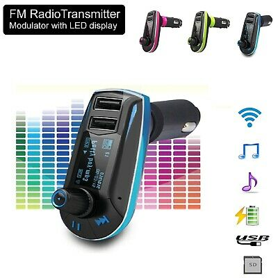 Wireless FM Transmitter Radio Car Kit MP3 Music Player & 2 USB Charger For Phone