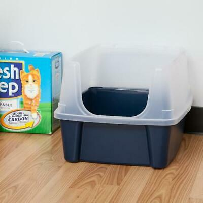 Clean Pet Cat Kitty Open Top Regular Cat Litter Box With Shield And Scoop Blue
