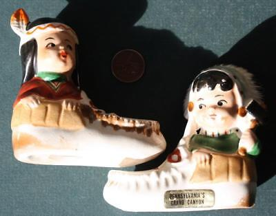 1950-60s Pennsylvania's Grand Canyon Native American Indian Salt & Peppers set!*