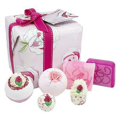 Bomb Cosmetics Rose Garden Gift Set Luxury Handmade Bath Body Square Wrapped Box