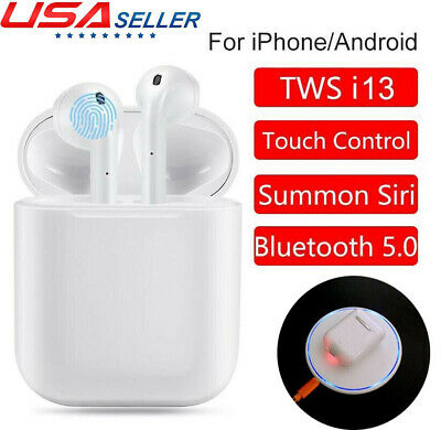 i13 TWS Stereo Bluetooth Earphones Wireless TOUCH Sire Google mic Pro Grade US
