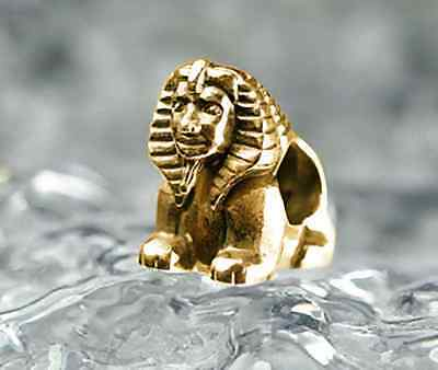 COOL Egyptian EGYPT SPHINX 24k Gold plated Sterling Silver 925 Bead fit jewelry