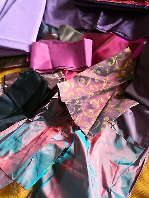"""""""STASH"""" of  LUXURY FABRIC PIECES for TEXTILE ART - SHADES of PURPLE"""
