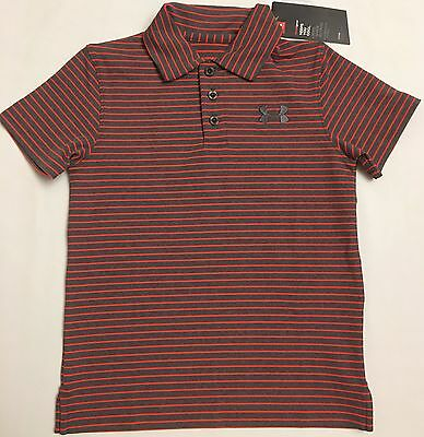 4895211d NWT youth Boys' YMD medium UNDER ARMOUR knit POLO heatgear GOLF shirt  striped