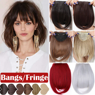 Thin Neat Bangs AS Remy Human Hair Extensions Clip in on Fringe Front Hairpiece