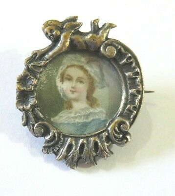 Antique White Metal Cherub Brooch Pin With A Hand Painted Portrait Miniature