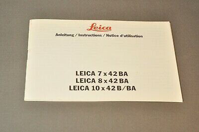 Leica 10x42 BA and others Instructions, c1991, German, English and French