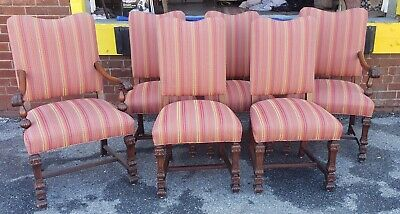 Set 6 1920s Jacobean Leonardo Furn Walnut Renaissance Revival Dining Room Chairs