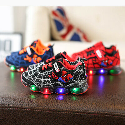 Kids Boys Girls Running Shoes Trainers LED Spiderman Shockproof School Sports A