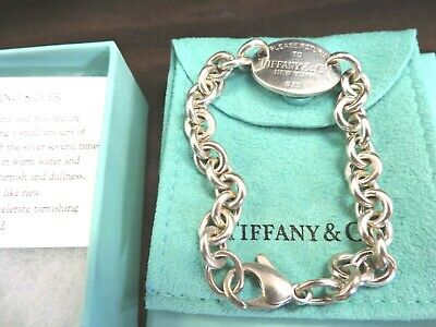 f2790bb38 Return to Tiffany & Co Oval Tag Charm Chain Bracelet Sterling Silver  Authentic