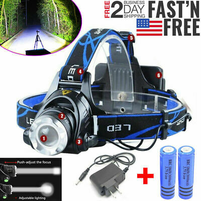 500000LM Rechargeable Head light T6 LED Tactical Headlamp Zoomable+Charger+18650