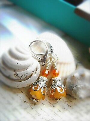 Bell Flower Earrings Small Tulip TEA PARTY ORANGE Dangle Lucite leverback