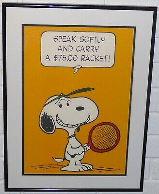 Peanuts Snoopy Tennis Framed Vintage Poster Print Charles Schulz Sports