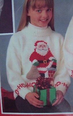 Mary Maxim Knitted Worsted Santa Pullover Christmas Sweater Kit CHILD SIZE 10,12