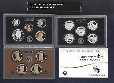 2014-S U.s. Mint Silver Proof Set...14 Coins...with Ogp...coa