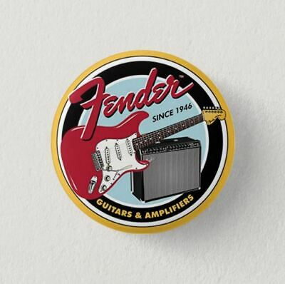 Chapa Pin Badge Button Brooch FENDER GUITAR GUITARRA ROCK, HEAVY METAL