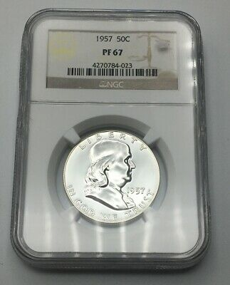 1957 50c Silver Proof Franklin Half Dollar NGC PF 67 *All White Gem Coin*