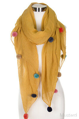 Jinscloset Women's Fashion Solid Color with Pom Scarf