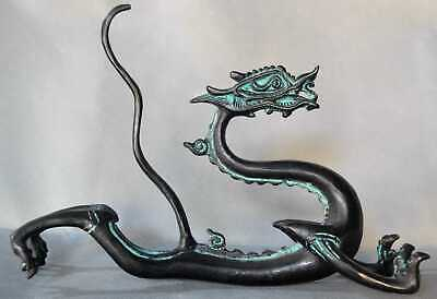 China Ancient Collectable Old Bronze Carve Jump Dragon Head Exorcism Evil Statue