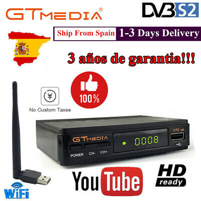 DVB-S2 Receptor Gtmedia v7s +Antena WIFI 1080P Satellite Receiver HD FTA Digital