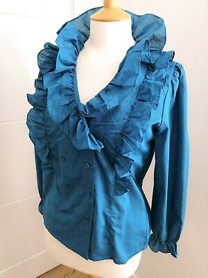 Vintage 80's Italian ruffle shirt blouse, teal button front chic regency work 12