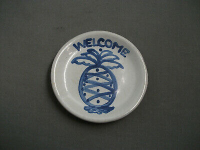 "M A Hadley Stoneware Pin Dish - Welcome - 4"" W - Grey W/ Blue - 54"