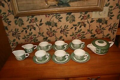 Vintage The Old Curiosity Shop Green-Lot/16 Cups/Saucers.creamer/Teapot Lid