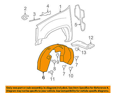 GMC GM OEM 07-12 Acadia-Front Fender Liner Splash Shield Left 25849005