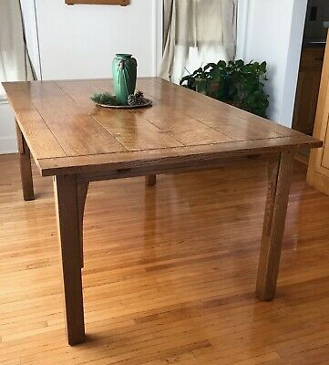 L&JG Stickley Mission Dining Table - Oak Butterfly Joint w/ 2 leaves 72x42x30