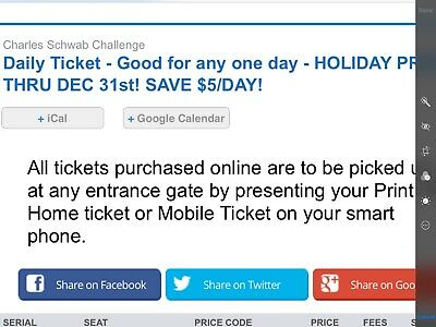 2 Tickets Charles Schwab Challenge GA, Good for ANY one day Parking included.