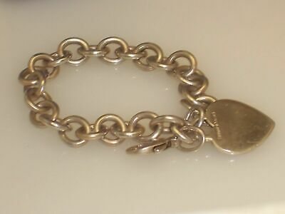Tiffany & Co Heart Charm Chain Link Bracelet Pre owned with Monogram Initials