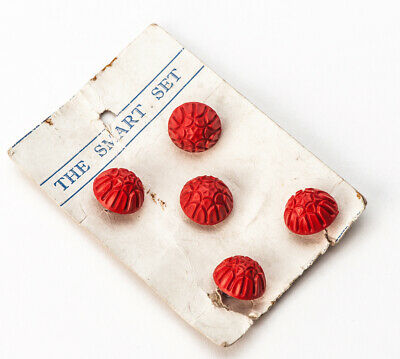 Antique Vintage 1930s Button Card Red Plastic Domed 15mm diameter x 5