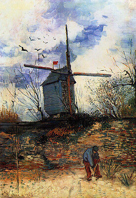 Oil painting Vincent Van Gogh - Landscape and windmills