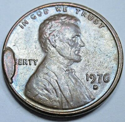 1976-D AU Large Obverse Cud Mint Error US Lincoln Memorial 1 Penny Cent Coin
