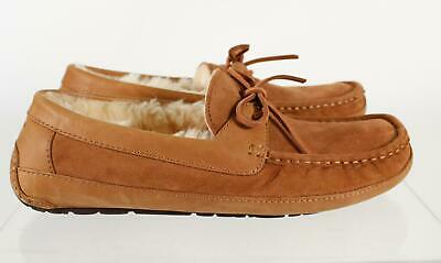 403af441afc UGG AUSTRALIA BYRON Tan Leather Shearling Lined Men's Moccasin Slippers SZ  10