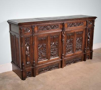 *Antique French Gothic Revival Cabinet/Console/Sideboard, Highly Carved in Oak