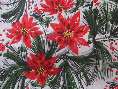 Large Vintage Christmas Red Poinsettias Fir Tree Holly Berries Cotton Tablecloth