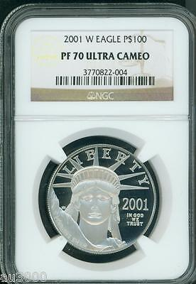 2001-W $100 PLATINUM EAGLE STATUE OF LIBERTY 1 Oz. NGC PF70 PROOF PR70 CAMEO !!